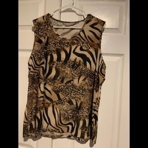 Sleeveless wild animal tank top